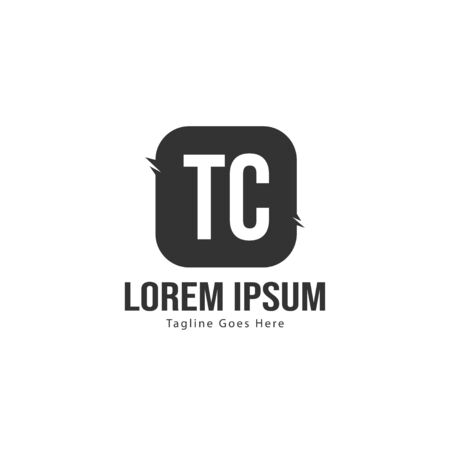 Initial TC logo template with modern frame. Minimalist TC letter logo vector illustration