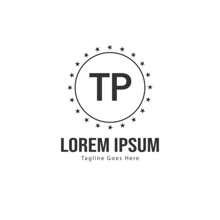 Initial TP logo template with modern frame. Minimalist TP letter logo vector illustration
