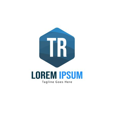 Initial TR logo template with modern frame. Minimalist TR letter logo vector illustration