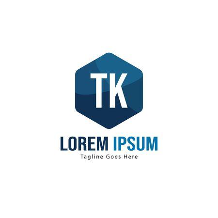 Initial TK logo template with modern frame. Minimalist TK letter logo vector illustration