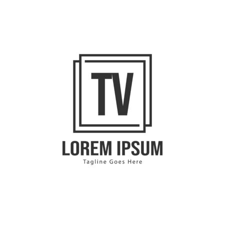 Initial TV logo template with modern frame. Minimalist TV letter logo vector illustration 일러스트