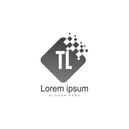 Initial TL logo template with modern frame. Minimalist TL letter logo vector illustration Logó