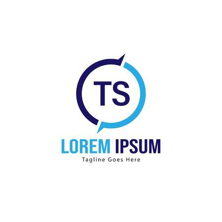 Initial TS logo template with modern frame. Minimalist TS letter logo vector illustration Illustration