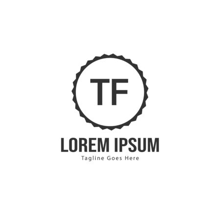 Initial TF logo template with modern frame. Minimalist TF letter logo vector illustration Illustration