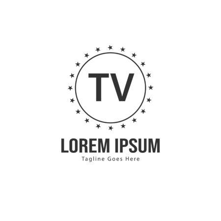 Initial TV logo template with modern frame. Minimalist TV letter logo vector illustration Иллюстрация