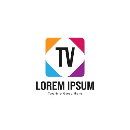 Initial TV logo template with modern frame. Minimalist TV letter logo vector illustration  イラスト・ベクター素材