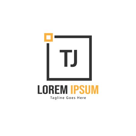 Initial TJ logo template with modern frame. Minimalist TJ letter logo vector illustration
