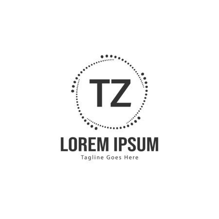 Initial TZ logo template with modern frame. Minimalist TZ letter logo vector illustration