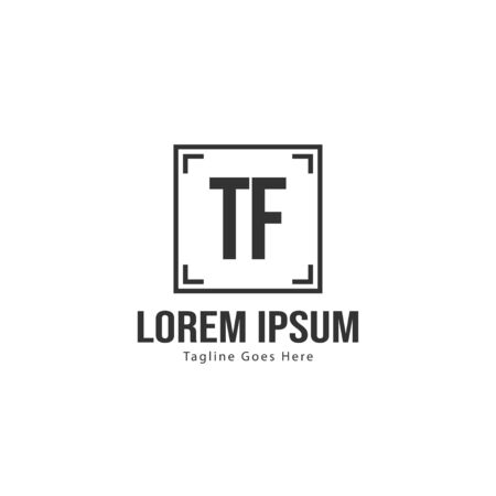 Initial TF logo template with modern frame. Minimalist TF letter logo vector illustration  イラスト・ベクター素材