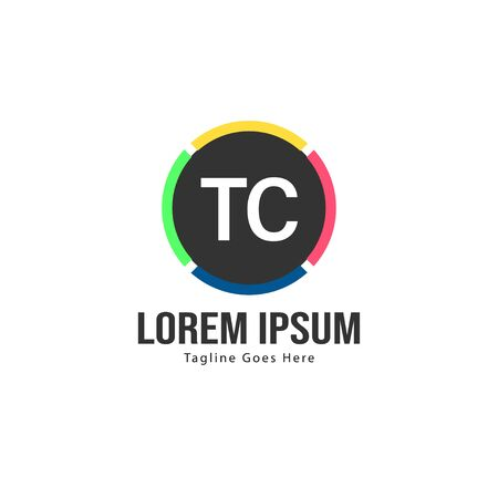 Initial TC logo template with modern frame. Minimalist TC letter logo vector illustration 写真素材 - 132104180