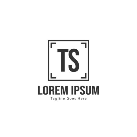 Initial TS logo template with modern frame. Minimalist TS letter logo vector illustration  イラスト・ベクター素材