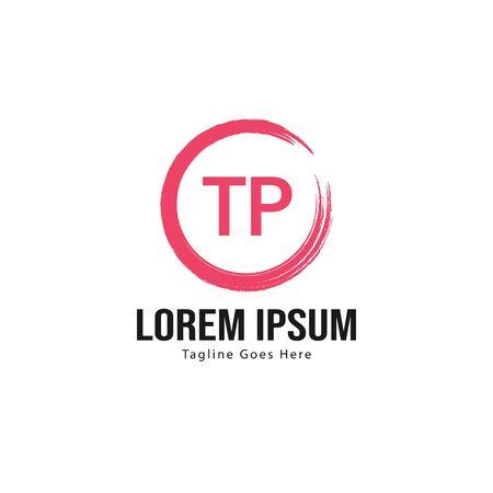Initial TP logo template with modern frame. Minimalist TP letter logo vector illustration
