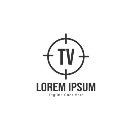 Initial TV logo template with modern frame. Minimalist TV letter logo vector illustration 일러스트