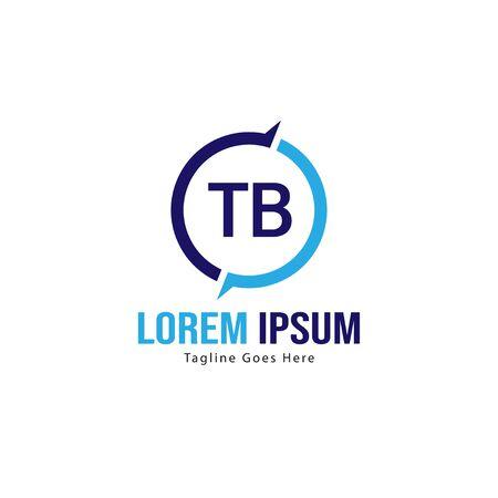 Modèle de logo TB initial avec cadre moderne. Illustration vectorielle minimaliste TB lettre logo Logo