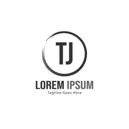 Initial TJ logo template with modern frame. Minimalist TJ letter logo vector illustration