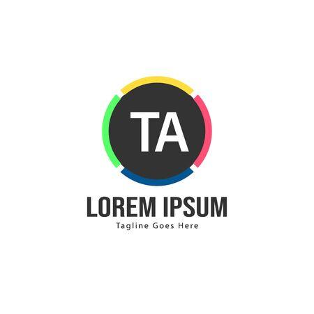 Initial TA logo template with modern frame. Minimalist TA letter logo vector illustration