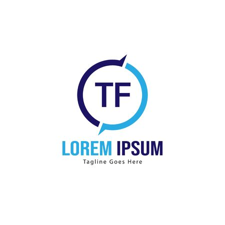 Initial TF logo template with modern frame. Minimalist TF letter logo vector illustration 일러스트
