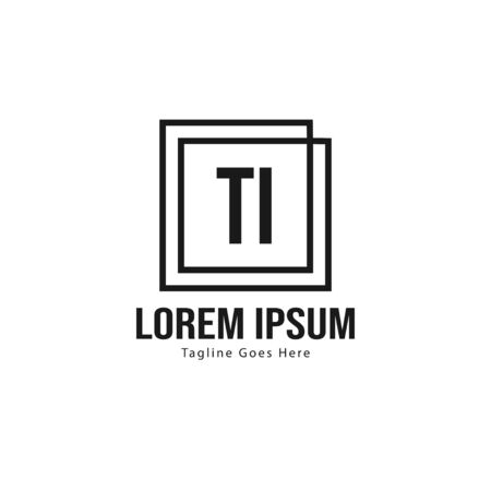 Initial TI logo template with modern frame. Minimalist TI letter logo vector illustration 일러스트