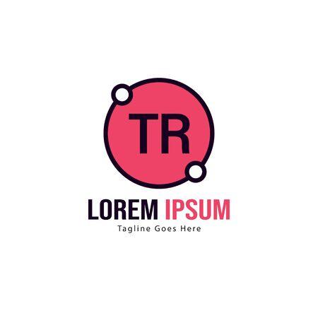 Initial TR logo template with modern frame. Minimalist TR letter logo vector illustration Logó