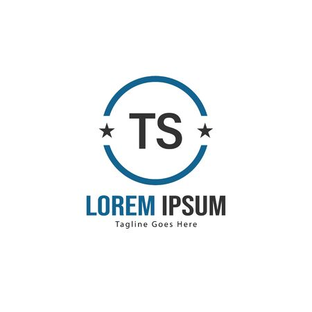 Initial TS logo template with modern frame. Minimalist TS letter logo vector illustration Logó