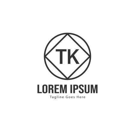 Initial TK logo template with modern frame. Minimalist TK letter logo vector illustration Logó