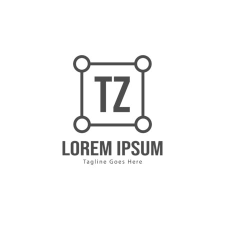Initial TZ logo template with modern frame. Minimalist TZ letter logo vector illustration Logó