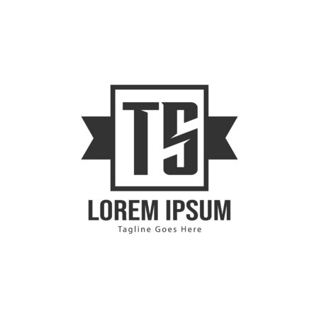 Initial TS logo template with modern frame. Minimalist TS letter logo vector illustration