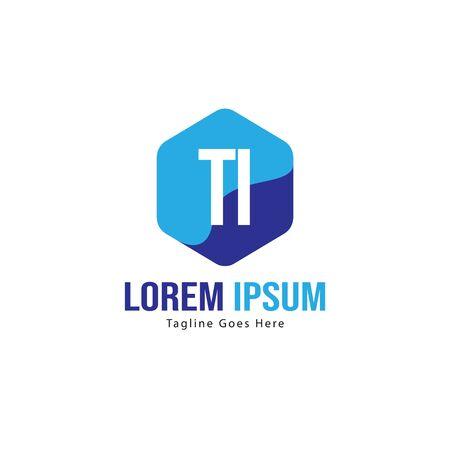 Initial TI logo template with modern frame. Minimalist TI letter logo vector illustration Ilustração
