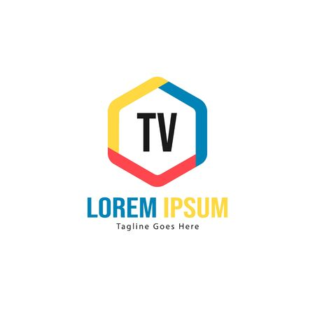 Initial TV logo template with modern frame. Minimalist TV letter logo vector illustration Ilustração