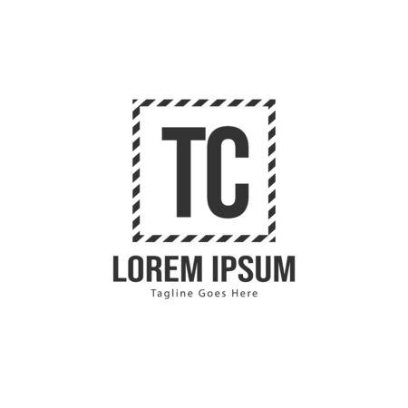 Initial TC logo template with modern frame. Minimalist TC letter logo vector illustration