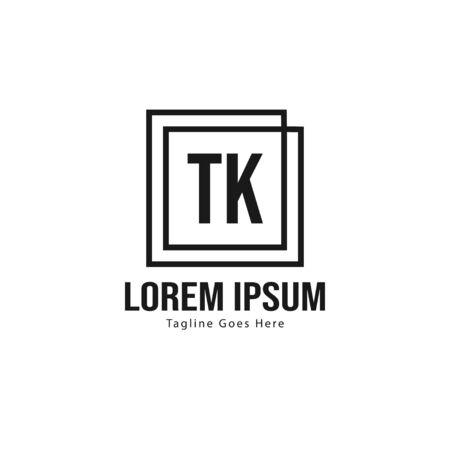 Initial TK logo template with modern frame. Minimalist TK letter logo vector illustration Ilustração