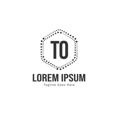 Initial TO logo template with modern frame. Minimalist TO letter logo vector illustration
