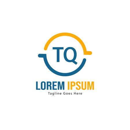 Initial TQ logo template with modern frame. Minimalist TQ letter logo vector illustration
