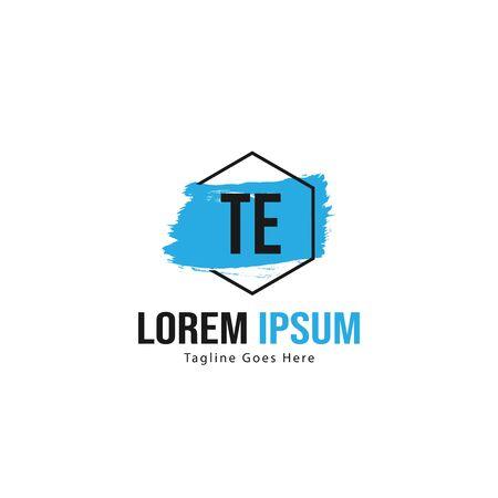 Initial TE logo template with modern frame. Minimalist TE letter logo vector illustration