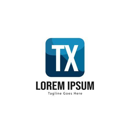 Initial TX logo template with modern frame. Minimalist TX letter logo vector illustration Ilustração