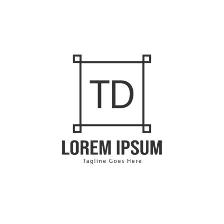 Initial TD logo template with modern frame. Minimalist TD letter logo vector illustration