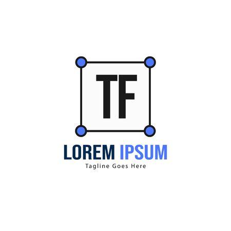 Initial TF logo template with modern frame. Minimalist TF letter logo vector illustration Ilustração