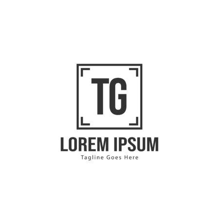 Initial TG logo template with modern frame. Minimalist TG letter logo vector illustration