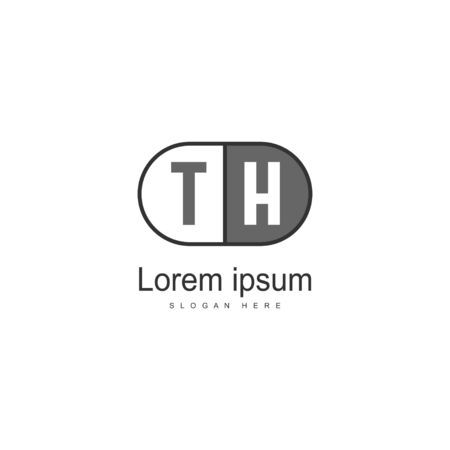 Initial TH logo template with modern frame. Minimalist TH letter logo vector illustration