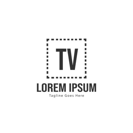Initial TV logo template with modern frame. Minimalist TV letter logo vector illustration Stok Fotoğraf - 133493044