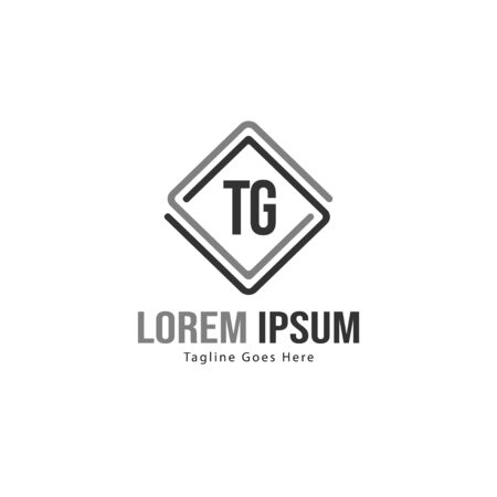 Initial TG logo template with modern frame. Minimalist TG letter logo vector illustration