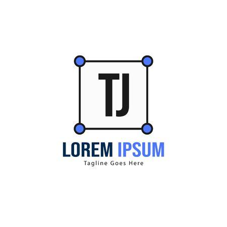 Initial TJ logo template with modern frame. Minimalist TJ letter logo vector illustration Stok Fotoğraf - 133826880