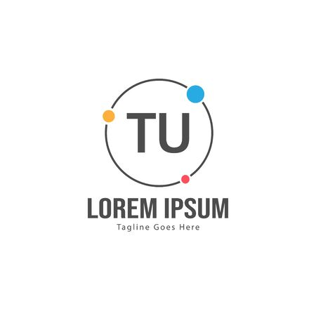 Initial TU logo template with modern frame. Minimalist TU letter logo vector illustration