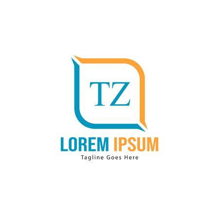 Initial TZ logo template with modern frame. Minimalist TZ letter logo vector illustration Stok Fotoğraf - 133827058
