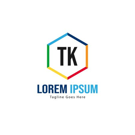 Initial TK logo template with modern frame. Minimalist TK letter logo vector illustration Çizim