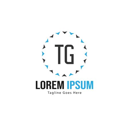 Initial TG logo template with modern frame. Minimalist TG letter logo vector illustration Stockfoto - 133827140