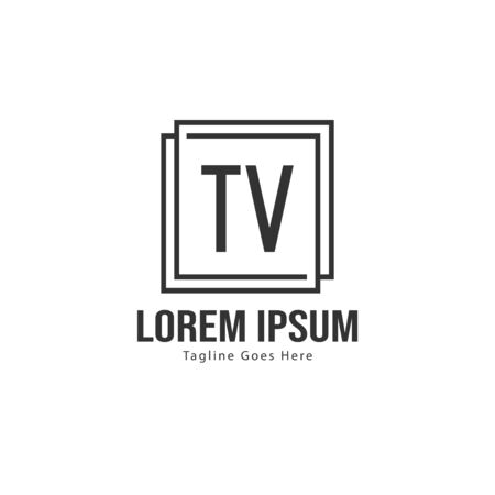 Initial TV logo template with modern frame. Minimalist TV letter logo vector illustration Çizim