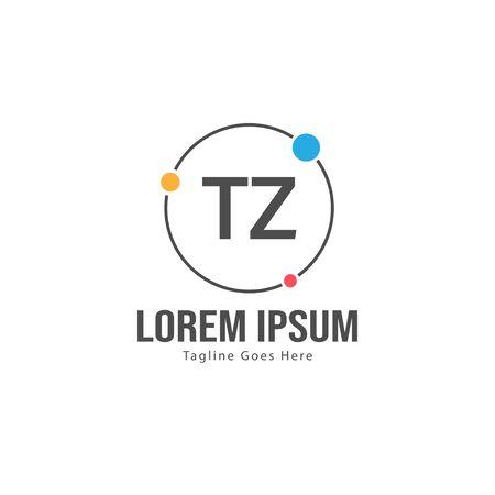 Initial TZ logo template with modern frame. Minimalist TZ letter logo vector illustration