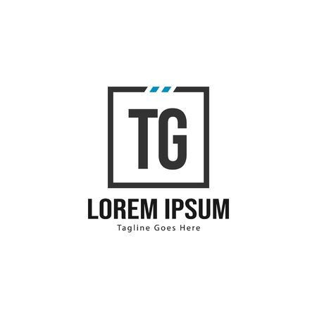 Initial TG logo template with modern frame. Minimalist TG letter logo vector illustration Stockfoto - 133827321