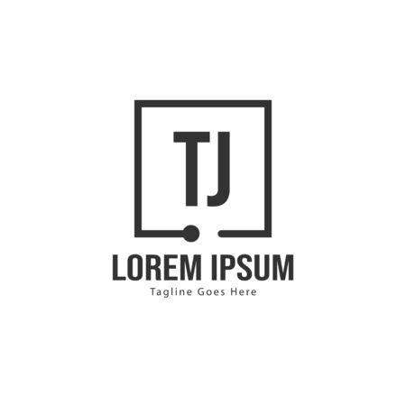 Initial TJ logo template with modern frame. Minimalist TJ letter logo vector illustration Logó